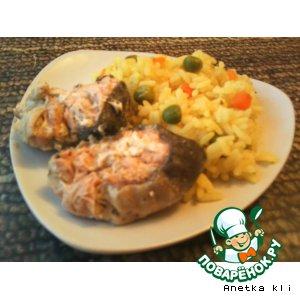 Сочная горбуша и рис с овощами в пароварке