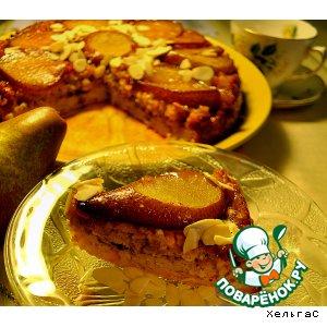 Запеканка-перевертыш с грушами в меду и овсяными хлопьями с творогом