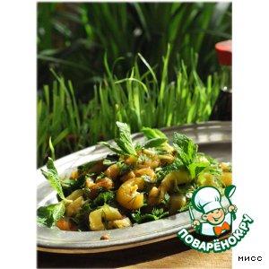 Салат из баклажанов с соевым соусом и мятой