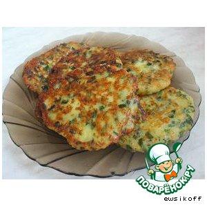 Оладьи с зеленым луком и сыром