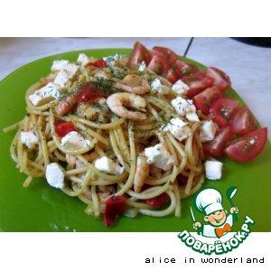 Спагетти с креветками и базиликом
