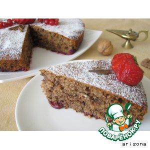 Вишневый пирог с рублеными орехами