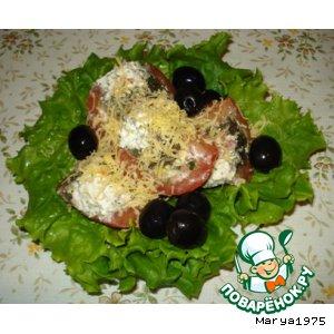 Салат из фаршированных помидоров