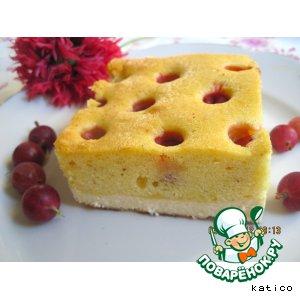 Творожно-бисквитный пирог с крыжовником