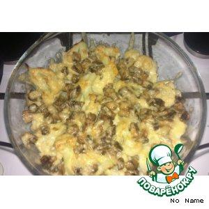 Цветная капуста, запеченная с сыром и грибами