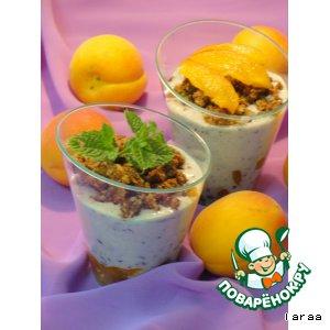 Хрустящий десерт с абрикосами и черникой