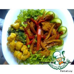 Корейка с тушеными овощами