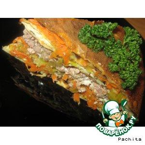 Блинный пирог с мясом и капустой