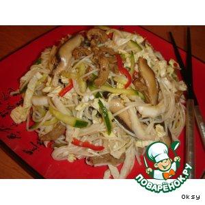 Салат из пекинской капусты с грибами шиитаке