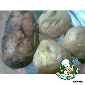 Жареная рыбка с любимой печеной картошечкой