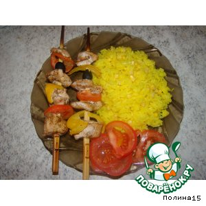Куриные шашлычки и рис с кукурузой
