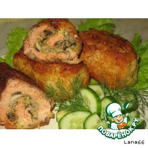 Рулетики рыбные с сырно-грибной начинкой