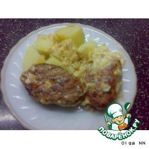 Зразы куриные,  под сливочным соусом