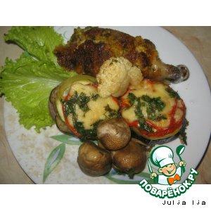 Курочка с башенками из овощей