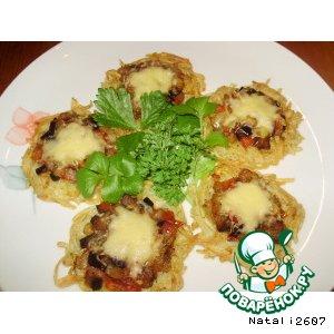 Картофельные хрустики с овощами и сыром