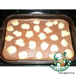 Пирог творожный с шоколадным пудингом