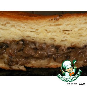 Картофельный пирог-рулет с грибами