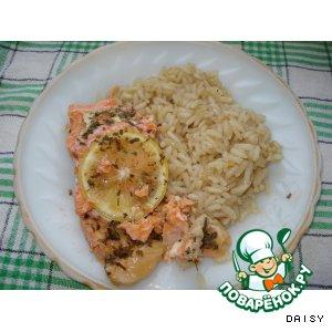 Рыба, запеченная в фольге, с гарниром из риса
