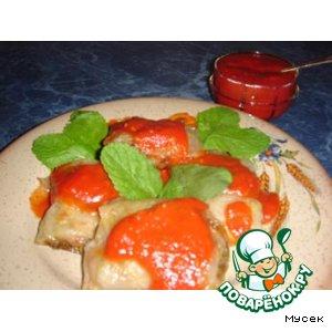 Индейка в рисовой бумаге под томатно-мятным соусом