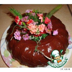 Мраморный кекс  с шоколадной глазурью