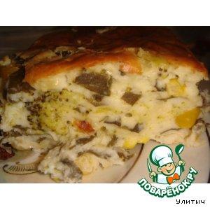 Сырная запеканка со шпинатом, брокколи и консервированной кукурузой