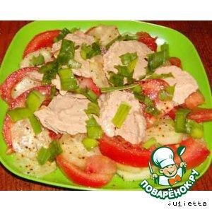 Салат из печени минтая с помидорами