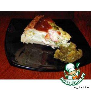 Пирог с креветками, брокколи и фетой