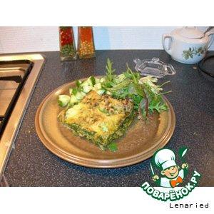 Зеленая лазанья с креветками с соусом песто