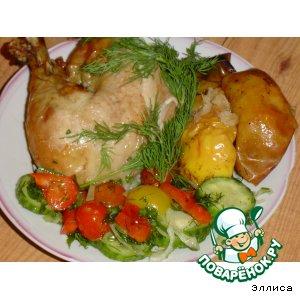 Курица, фаршированная яблоками и лимоном