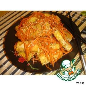 Салат из жареного тофу по-корейски