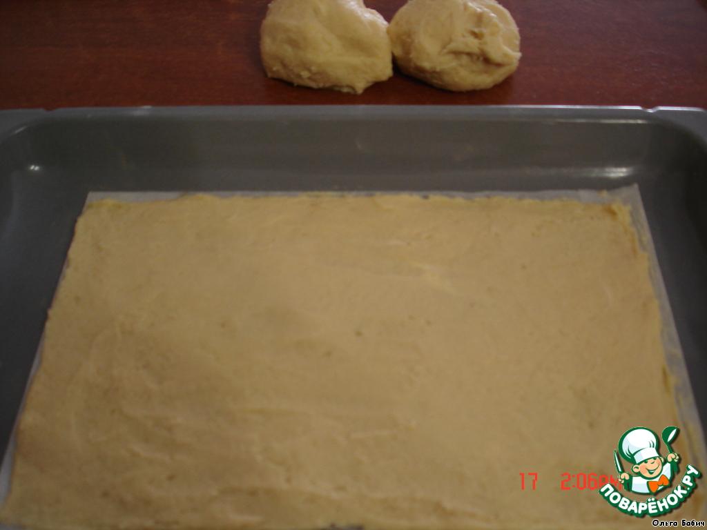 Разделить тесто на 3 части.   Форму застелить пекарской бумагой.    Мокрыми руками распределяем тесто (тесто липнет к рукам, но муки не добавлять).    Выпекаем 3 коржа при 180 град. до золотистого цвета.