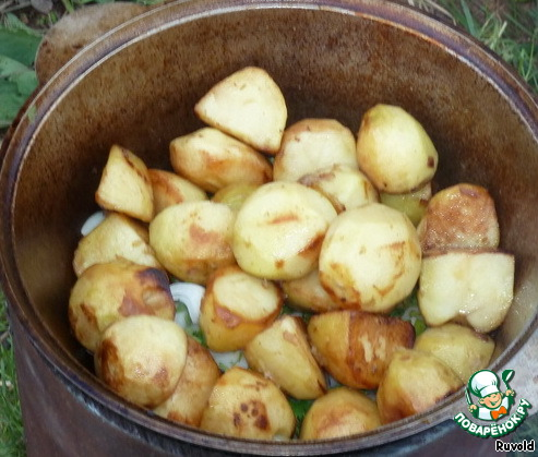 А теперь и последний ингредиент, румяная картошка. Аккуратно выложим её на луковую подушку, пусть она готовится на насыщенном мясном пару, пропитывается запахами приправ, но в то же время сохраняет свой особенный вкус. Самое время досолить, накрыть крышкой и отойти от казана на час. Нет, нет не надо добавлять никакой воды, её достаточно в мясе и в луке. Ну может быть полстаканчика, если у вас маловато мяса. Наше блюдо не будет жариться на большом огне, а будет томиться на углях. Мы только изредка будем добавлять небольшой кусочек полешка для пополнения запаса углей.