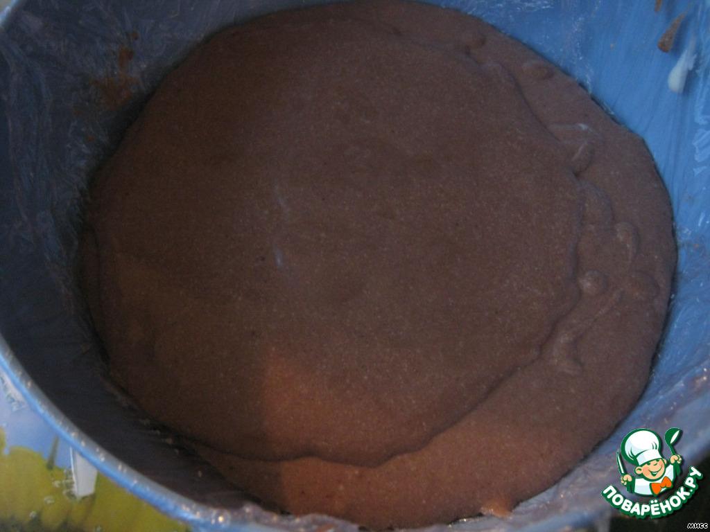 Выливаем в форму шоколадную массу.