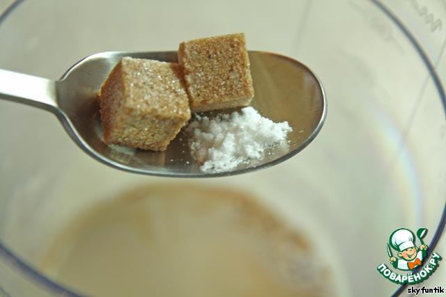 """Далее, вне зависимости от выбранного способа приготовления мы должны смешать кофе и сливки и добавить ванильный сахар, (или, как в моем случае сахар + ваниль).   По поводу ванили: у меня - ванилин кристаллический фирмы """"Парфэ"""", ушло где-то 1/3 - 1/2 чайной ложки. Но с ванилином нужно быть аккуратнее, чтобы не было горечи. Так что смотрите по своим продуктам, что бы вкус ванили был ярко выражен, но не более."""