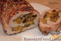 Рулет из индейки (или свинины) с шампиньонами и болгарским перцем