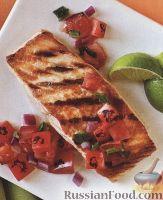 Рыба на гриле с овощной сальсой