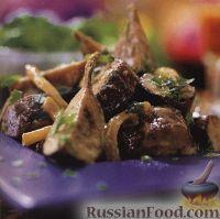 Теплый салат из баклажанов и лука