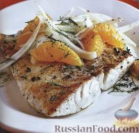 Жареная рыба с салатом из фенхеля