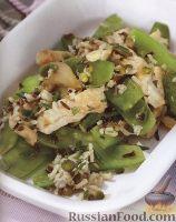 Теплый салат из индюшатины, риса, горошка и грибов