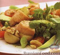 Салат из лосося, картофеля и зелени