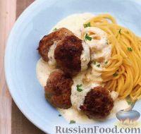 Тефтели с белым соусом и спагетти