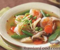 Азиатский суп с креветками и грибами