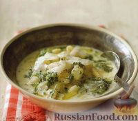 Суп с пастой и соусом песто