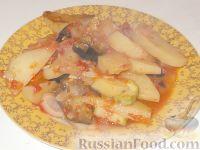 Картофель, тушеный с баклажанами и кабачками