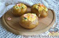 Запеченная картошка, фаршированная креветками и огурцом