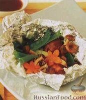 Рыба, запеченная с грибами и овощами в фольге