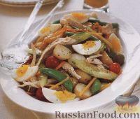 Овощной салат с курятиной и яйцами