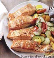 Жареный лосось с овощным салатом