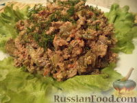 Салат из куриной печени и моркови