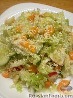 Овощной салат с яблоком и кунжутом